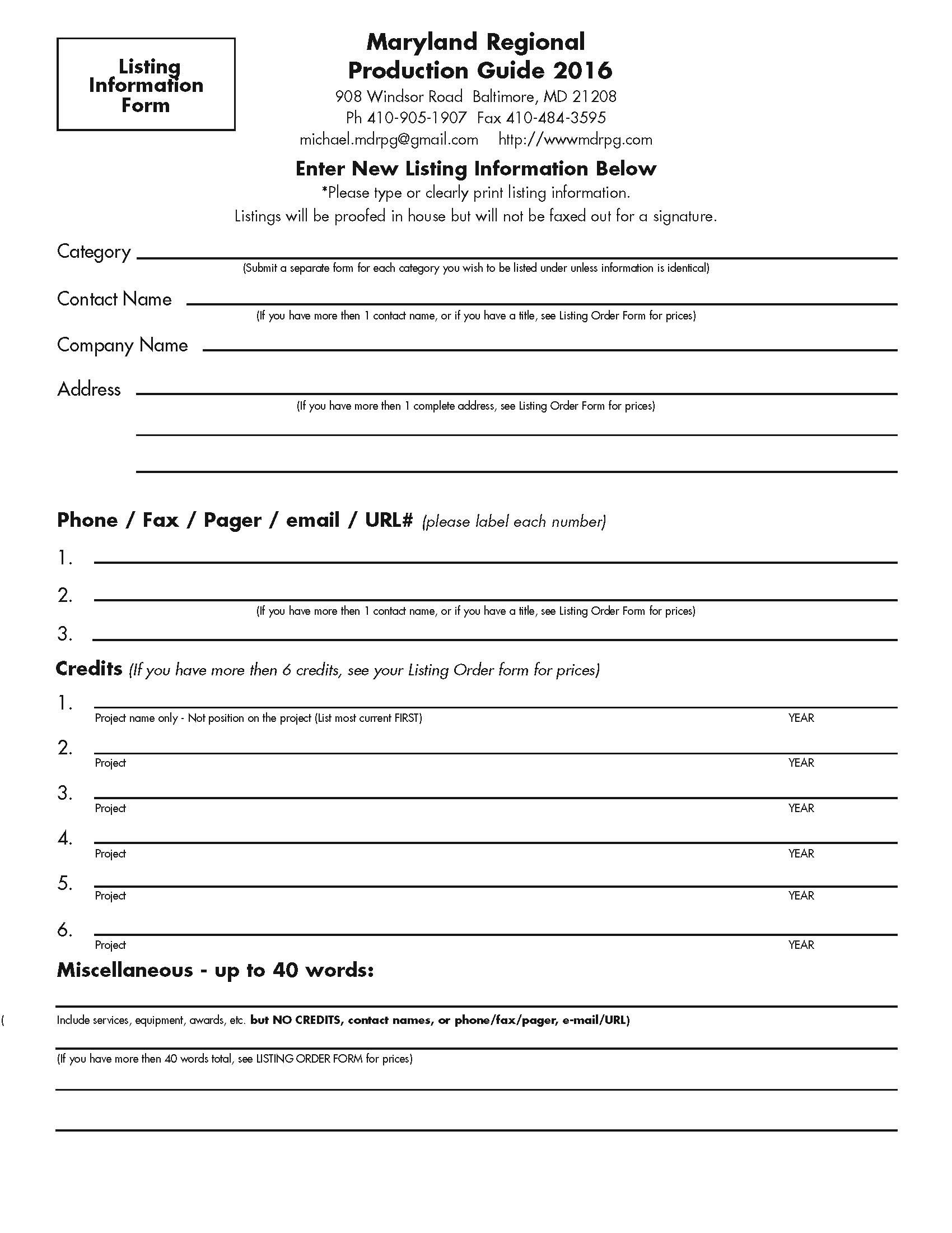 Info Form 2016 Listings Info Form